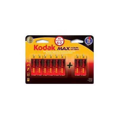 Kodak KAA-6-2-30411906 Kodak Max 6+2 adet Alkalin Kalem Pil-AA Pil / Şarj Cihazı