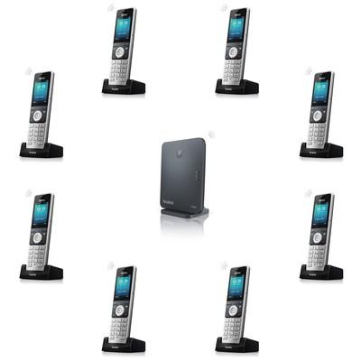 Yealink W60P DECT CORDLESS HANDSET + BASE UNIT(G.722) 8 SIMULTANEOUS EXT CALLS EXP 8 DECT HANDSETS 8 VOIP POE 2.4 INC TF IP Telefon