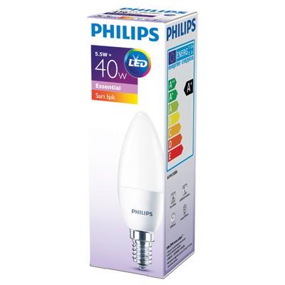 Philips ESS LEDCandle 40W B35 İnce Duy Sarı Işık 3'lü Ekopaket