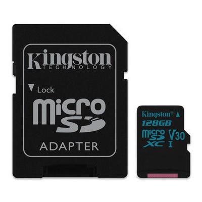 Kingston  128GB microSDXC Canvas Go 90R/45W U3 UHS-I V30 Card + SD Adapter