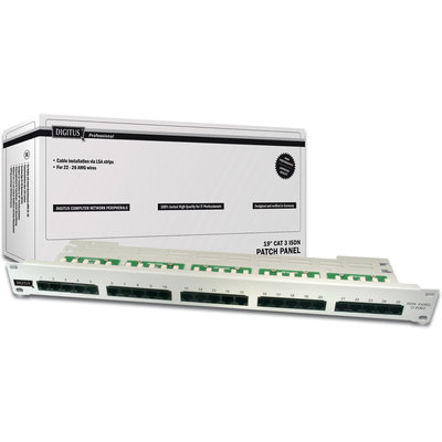 "Digitus 19"" 25-Port CAT3 Zırhsız Patch Paneli (DN-91325-1)"