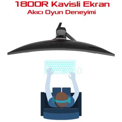 Asus 31.5 XG32VQ Kavisli 4ms 144hz HDMI DP EyeCare Flicker Free Düşük Mavi Işık 3YIL LCD