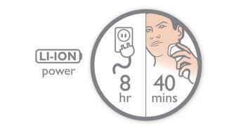 8 saatlik şarjla 40 dakikalık tıraş süresi