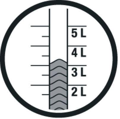 <strong>Kolay anlaşılır seviye göstergesi</strong><br/>  Seviye göstergesi, püskürtücüyü açmanız gerekmeden kapta ne kadar sıvı kaldığını gösterir.