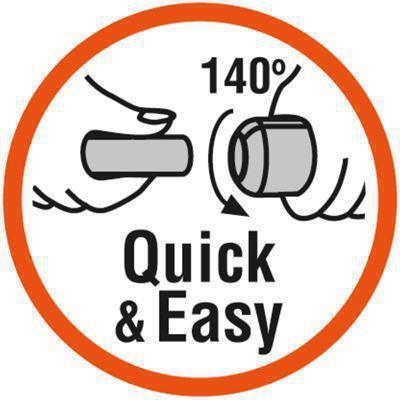 <strong>Kolay montaj</strong><br/> Patentli &quot;Hızlı ve Kolay&quot; Basit Bağlantı Teknolojisi vidalı parçayı 140° döndürerek boruların hızlı bir şekilde bağlanmasını sağlar. Bu da boru döşerken çaba ve zamandan tasarruf etmeyi sağlar.