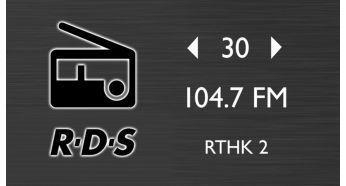 Daha fazla müzik seçeneği için RDS özellikli ve 30 hafızalı FM radyo