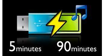 90 dakikalık çalma için 5 dakikalık hızlı şarj