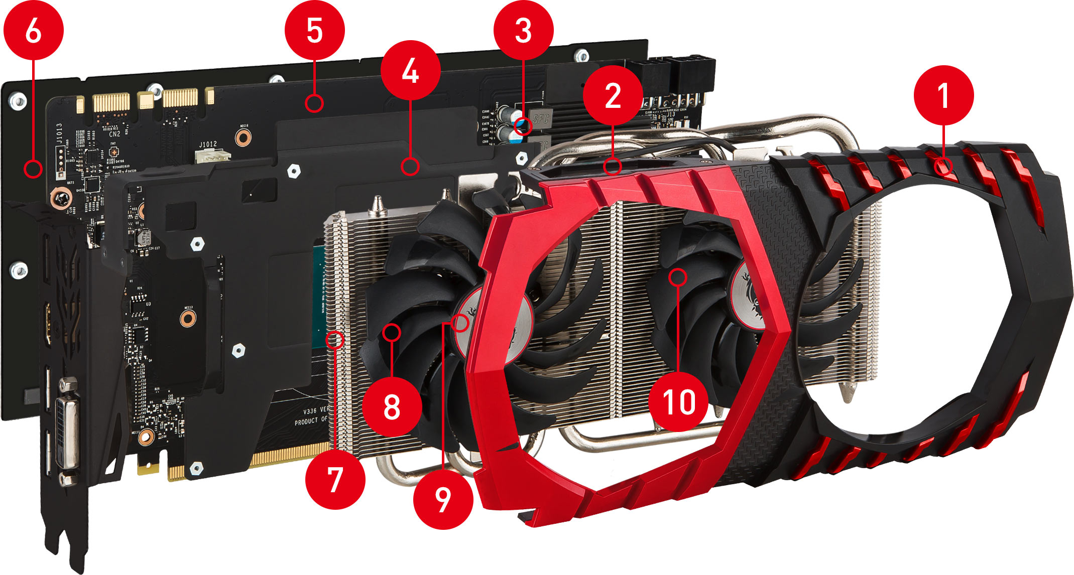 GTX 1070 GAMING X 8G exploded view