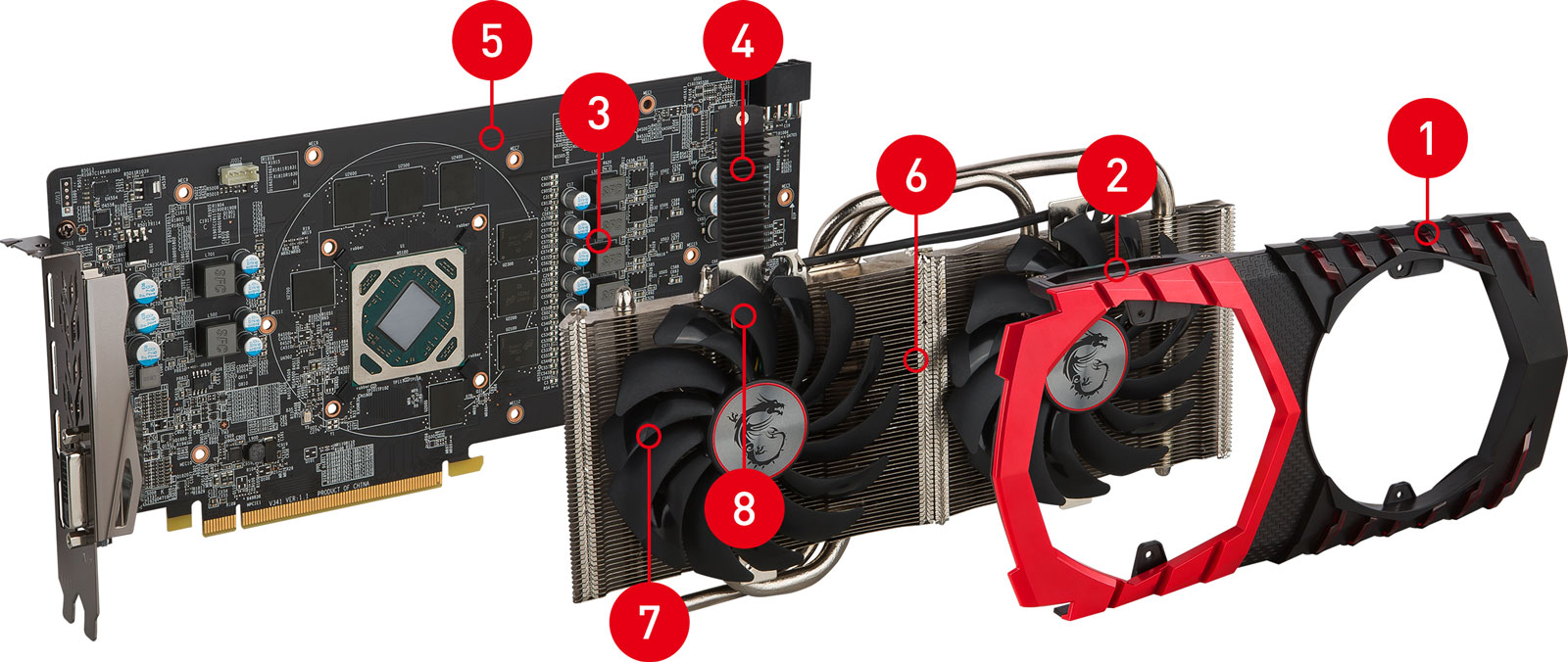 RX470 GAMING X 8G exploded view