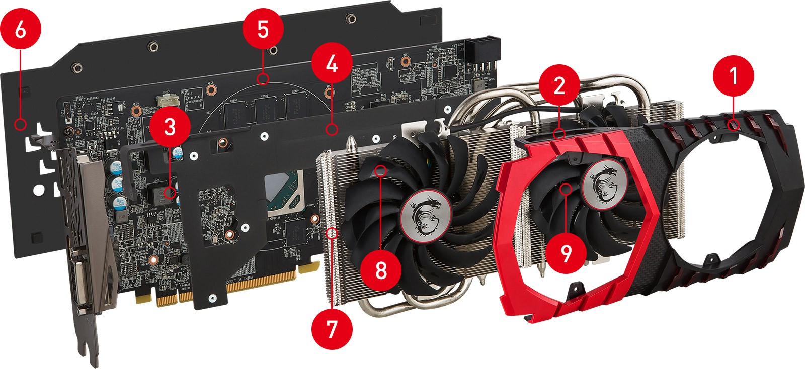 RX480 GAMING X 4G exploded view