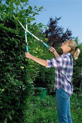<strong>Daha geniş menzil</strong><br/>  Teleskobik alüminyum saplar 20 cm uzatılabilir - daha büyük, daha yüksek çitleri kesmek için ideal.