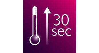 Kısa sürede ısınma özelliğiyle 30 saniyede kullanıma hazır