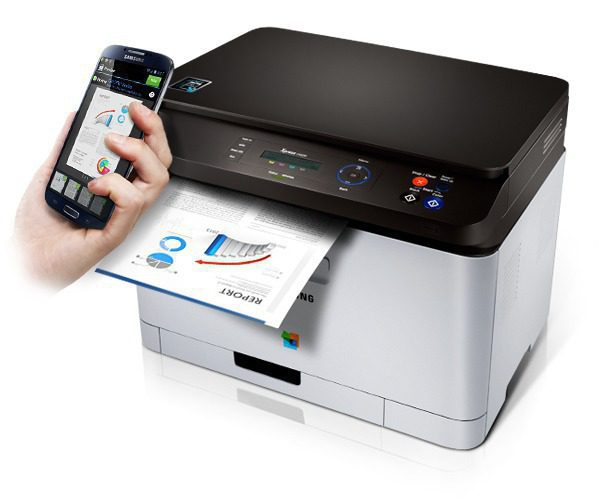 By scanning a NFC tag with mobile device, a Samsung Xpress C460W printer is printing a document.