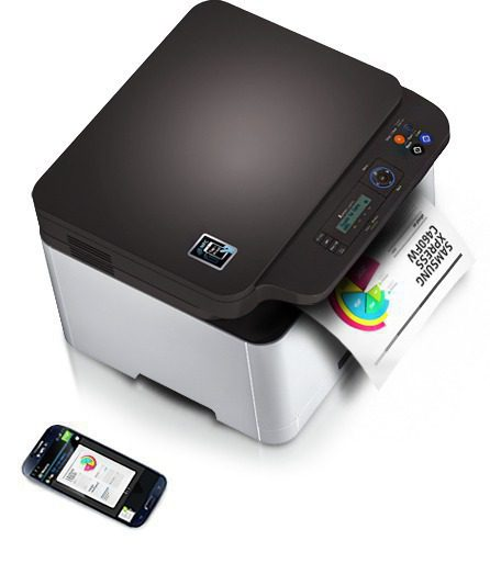 A Samsung Xpress C460W printer is printing a document with mobile device.