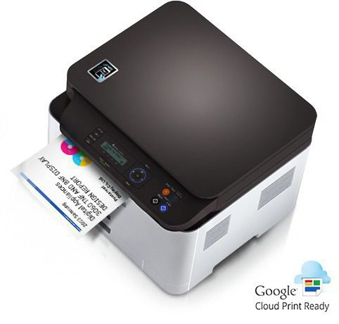 A Samsung Xpress C460W printer is printing a document with Google cloud.