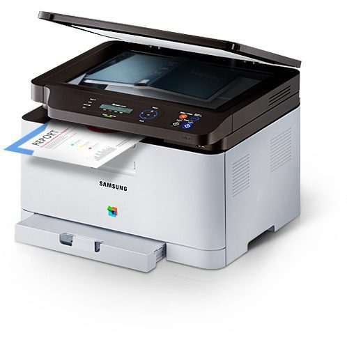 A Samsung Xpress C460W printer is operating as a copy machine.