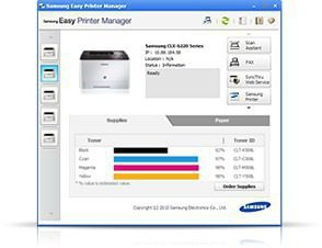 A image shows a screen of the Samsung Easy Printer Manager.