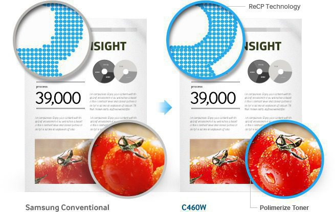 A image shows printed comparison between Samsung Conventional and C460W.