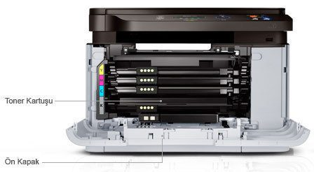 It shows left side configurations of the Samsung Xpress C460W printer: Toner Cartridge, Front Cover.