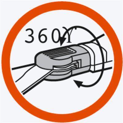 <strong>Bıçaklar 360° dönebilir</strong><br/>Bıçak hızlı ve kolay bir şekilde 360° döndürülerek sol veya sağ elini kullanan kişilerin rahat çalışmasını sağlar.