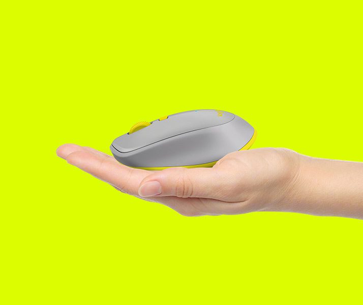 Feature - Compact mobile design - hand holding sm grey mouse
