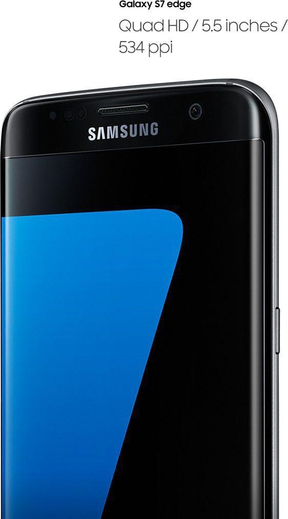 Galaxy S7 Edge'in sağ taraftan açılı perspektiften görüntüsü