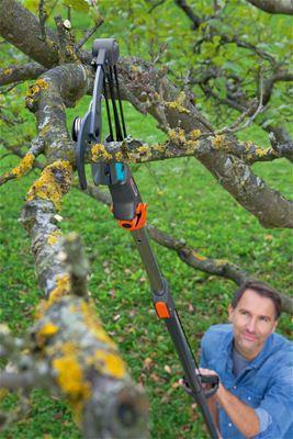 <strong>Temiz, pürüzsüz kesim</strong><br/> Yapışmaz maddeyle kaplı sıkıştırılmış bıçaklar dalların temiz, pürüzsüz ve ağaca zarar vermeden kesilmesini sağlar.