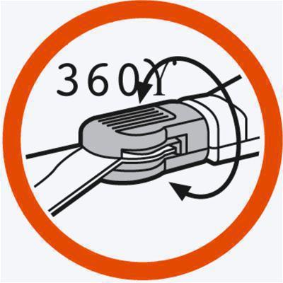 <strong>360° dönebilir</strong><br/> Bıçak hızlı ve kolay bir şekilde 360° döndürülerek sol veya sağ elini kullanan kişilerin rahat çalışmasını sağlar.