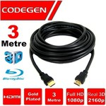Codegen Cps30, 3mt, Altın Uçlu Hdmı Kablo