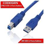Codegen CPM23 3 Metre USB 3.0 Mavi Yazıcı Bağlantı Kablosu (Am-Bm)