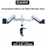 Dark DK-AC-VM22 2 Adet Monitör Takılaben Amortisörlü Masa Monte Monitör Kolu