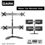 """Dark DK-AC-VM41 KOL 4 Monitör Destekli Ayarlanabilir Masa Tipi VESA 13""""-23""""LCD monitö"""