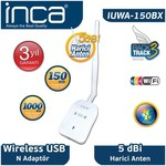 Inca Iuwa-150bx Iuwa-150bx 150 Mbps 11n Harici 5dbi Anten Wireless Adaptör 1 Km Men