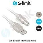 S-Link SL-U2003 Usb2.0 3m Şeffaf Yazıcı 0