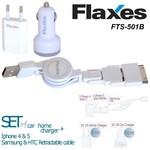 Flaxes Fts-501b Universal 3'lü Çok Amaçlı Seyehat Şarj Seti Beyaz Renk