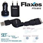 Flaxes Fts-501s Flaxes Fts-501b 3lü Set Araç 5v 2,1a-ev 5v 1a Çok Amaçlı Uç Siyah