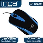 Inca IM-181KM Kablolu Mouse - Mavi