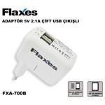 Flaxes Fxa-700b 5v 2,1 Amper & 1 Amper Tablet Ve Gsm Adaptörü - Çift Usb Beyaz