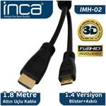 Inca Imh-02 Cab Imh-02 1.8 Mt Mını Hdmı To Hdmı 3d V1.4 Full Hd Altın Uçlu Kablo