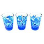 Paşabahçe Drops Küçük Bardak Mavi Desenli 3 Adet Model 42875
