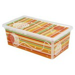 Kis Plastik C-box Xs Çizgiler & Çiçekler Saklama Kutusu 33,5x19x12 Cm