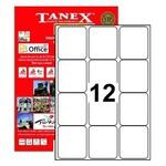 Tanex Yazıcı Etiketi 63.5x72 mm 1200 Adet Model TW-2012