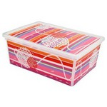 Kis Plastik Kis C Box Çizgiler & Çiçekler Saklama Kutusu 37x26x15 Cm