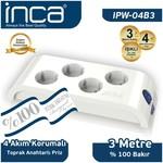 Inca Ipw-04b3 Ipw-04b3 %100 Türk Tasarımlı 4'lü Akım Korumalı Priz 3m Beyaz