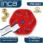 Inca Ipw-06k2 Ipw-06k2 %100 Türk Tasarımı 6'lı Oval Akım Korumalı Işıklı Priz 2
