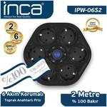 Inca Ipw-06s2 Ipw-06s2 %100 Türk Tasarımı 6'lı Oval Akım Korumalı Işıklı Priz 2