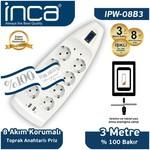 Inca Ipw-08b3 Ipw-08b3 8'li Akım Korumalı Çift Usb Girişli Priz 3m Beyaz