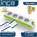 Inca Ipw-44by3 %100 Türk Tasarımı 4'lü Akım Korumalı Işıklı Priz 3m Beyaz-yeşil
