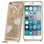 Redlife iPhone 6/ 6S Plus Kalp Desen Bol Taşlı Arka Kapak - Altın