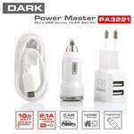 Dark Dk-ac-pa3221 Power Master Micro Usb Kablolu Çift Çıkışlı 5v / 2.1a Ev - Araç Şar